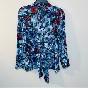 Massini Floral Tie up Button Up Checker Floral S
